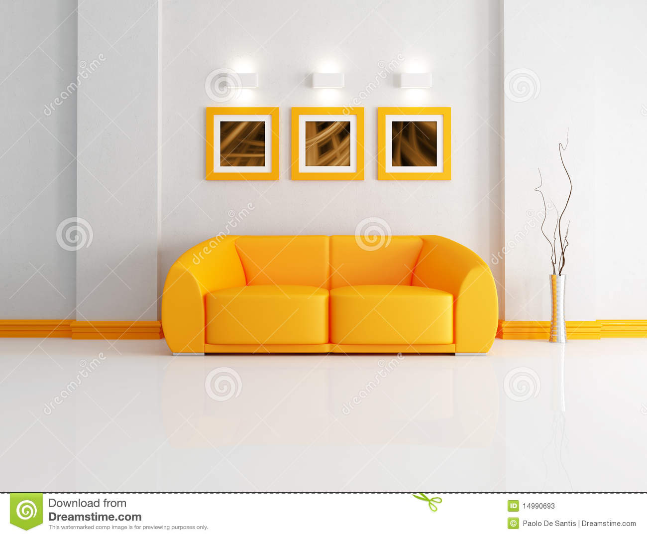 Bright Orange And White Living Room Royalty Free Stock