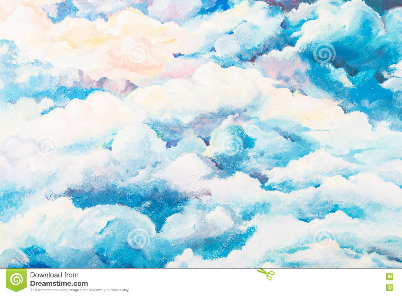 Bright Painted Cloudy Sky Background Stock Photo - Image: 81956053