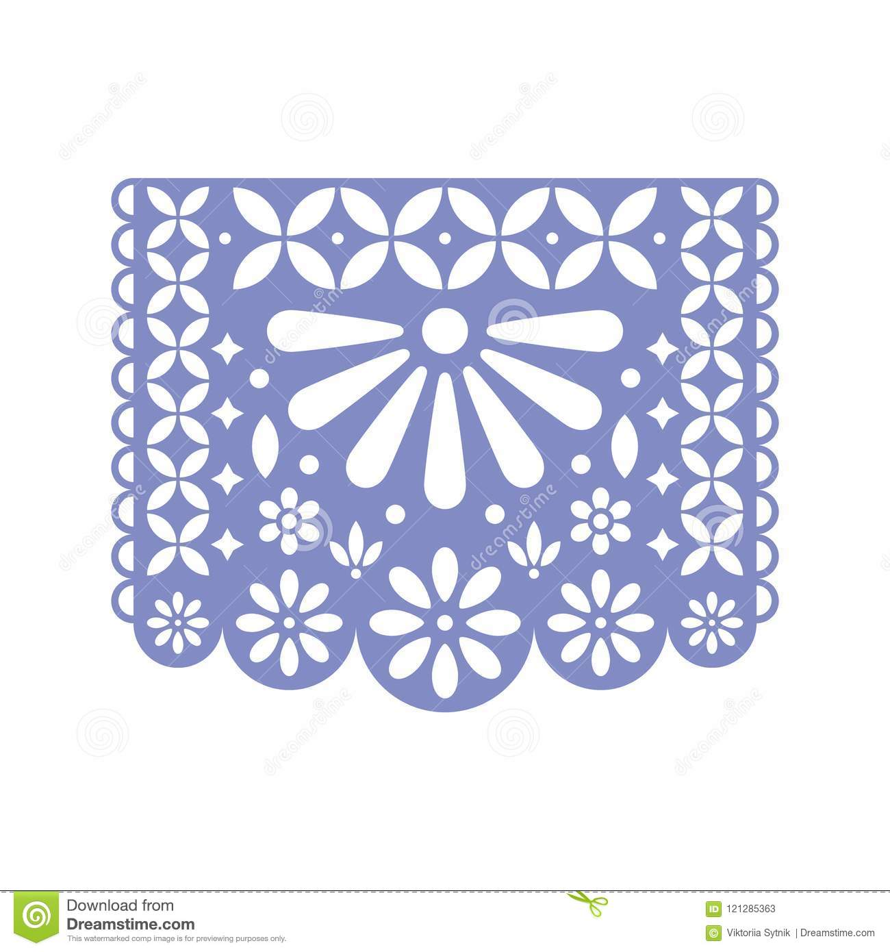 Bright Paper With Cut Out Flowers And Geometric Shapes Papel Picado