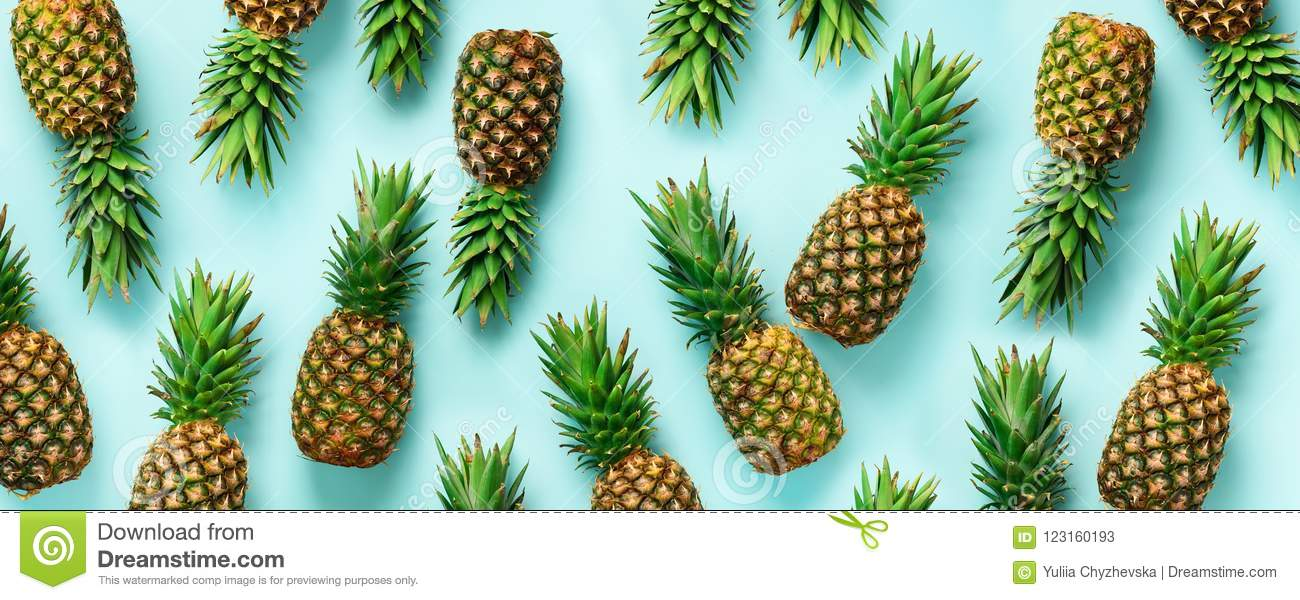 Bright pineapple pattern for minimal style. Top View. Pop art design, creative concept. Copy Space. Banner. Fresh