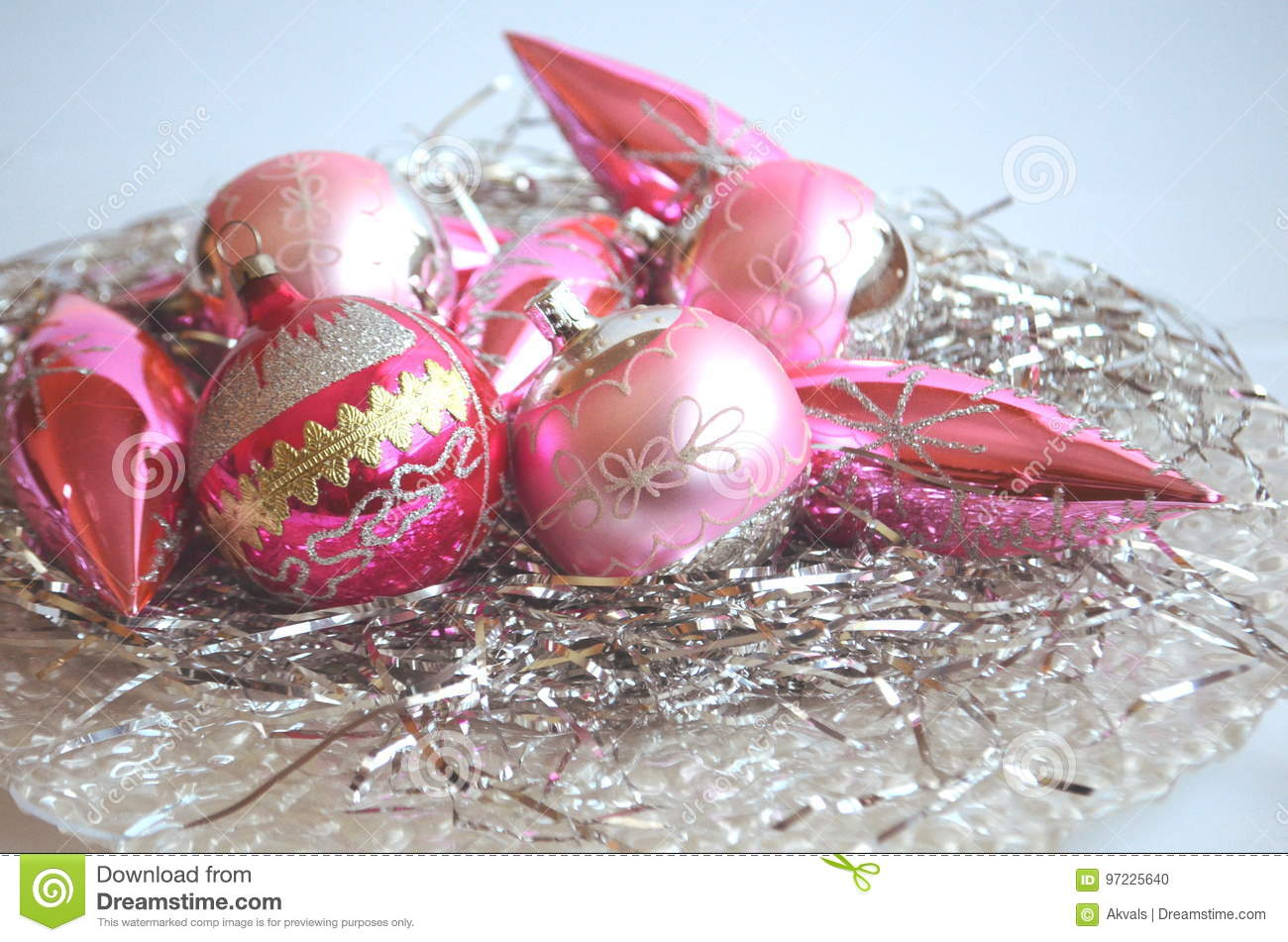 Bright Pink Christmas Tree Bauble Ball Ornaments On Silver Hair Decoration Stock Photo Image Of Holidays Bright 97225640