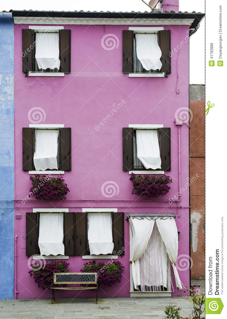 Bright Pink Color House In Venice Stock Photo - Image of exterior ...