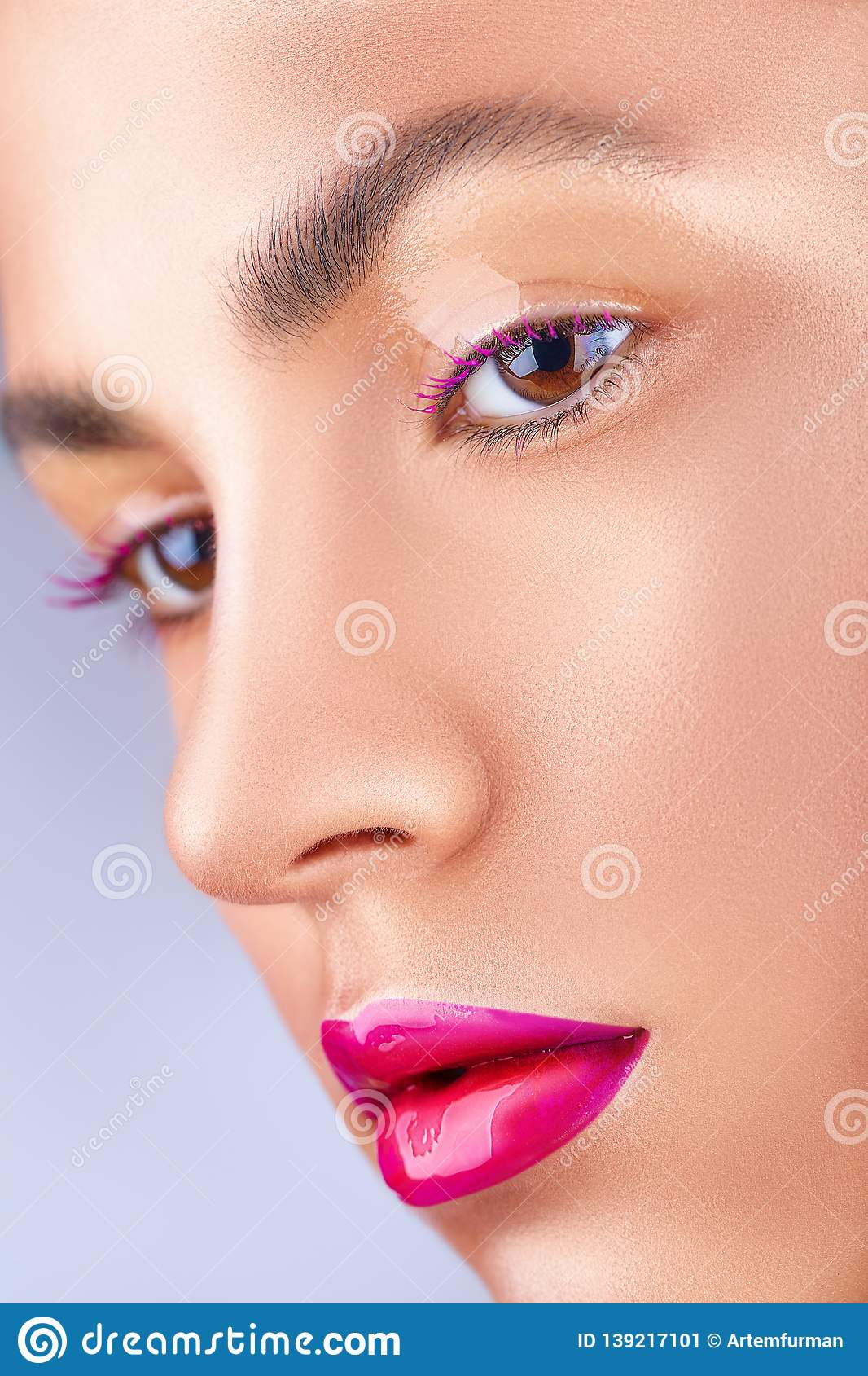 Bright pink lips stock image  Image of lady, care, natural