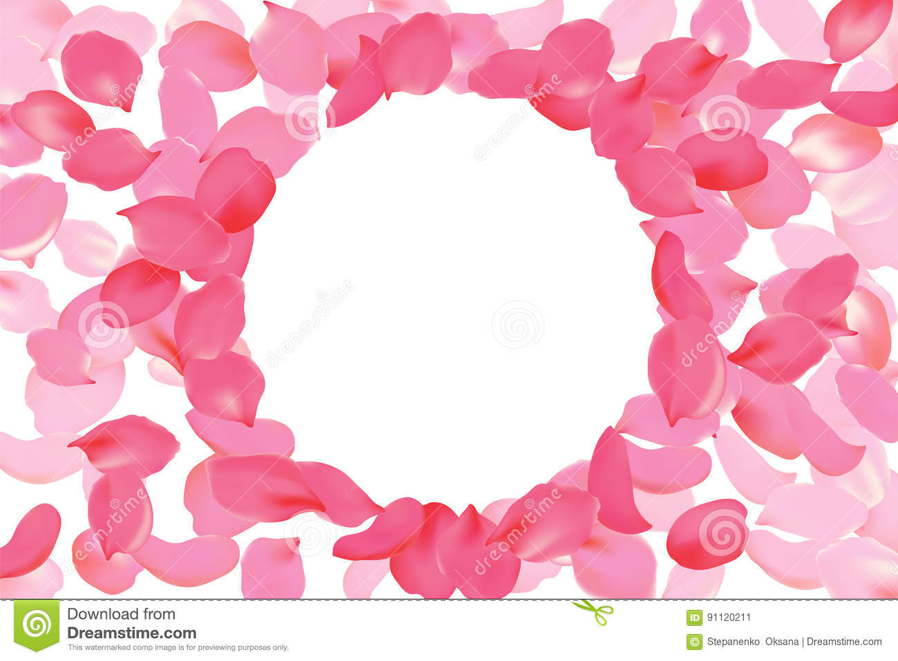 Bright Pink Rose Petal Frame Round Circle. Background