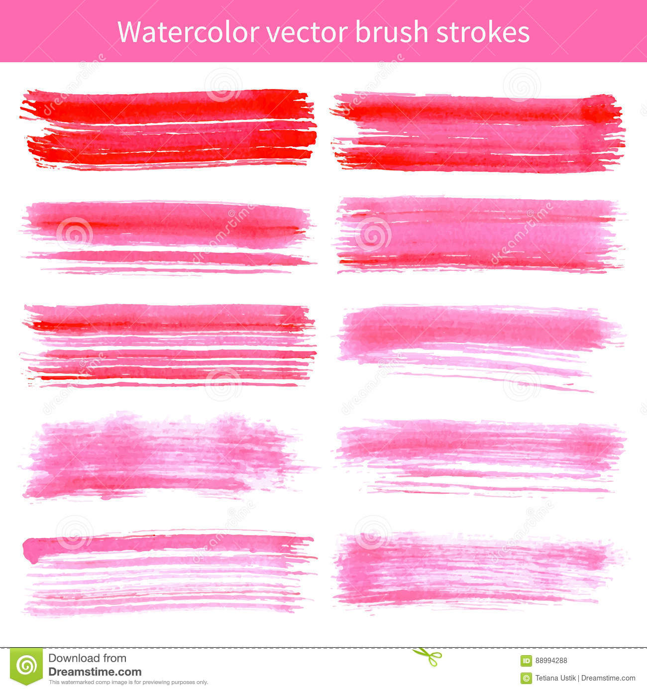 Bright Pink Paint Bright Pink Watercolor Brush Vector Strokes Stock Vector Image