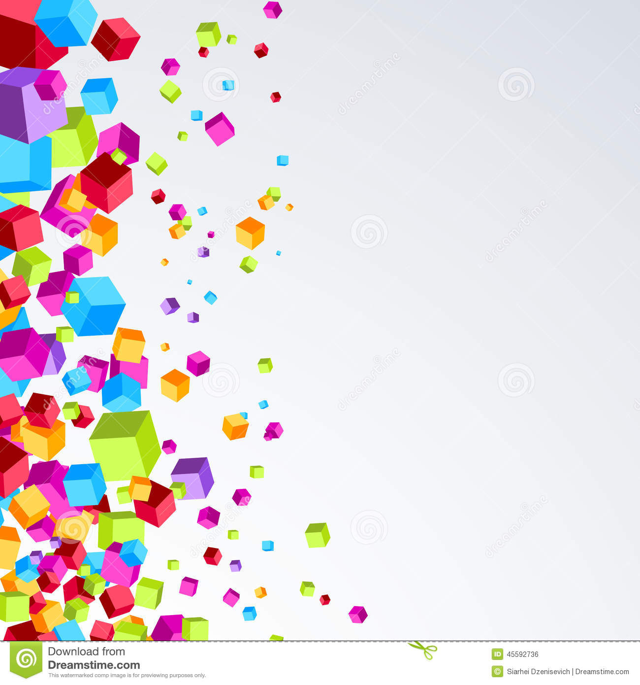 Colorful Abstract Modern Banner: Bright Plastic Cube Fly Border Bright Background Stock