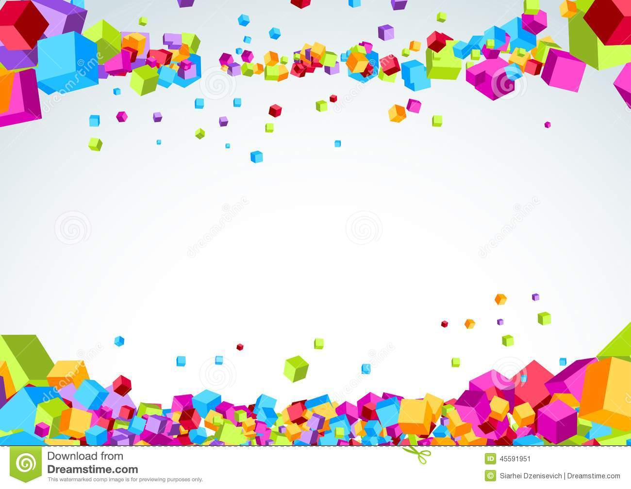 Bright Plastic Origami Cubes Fly Background Stock Vector