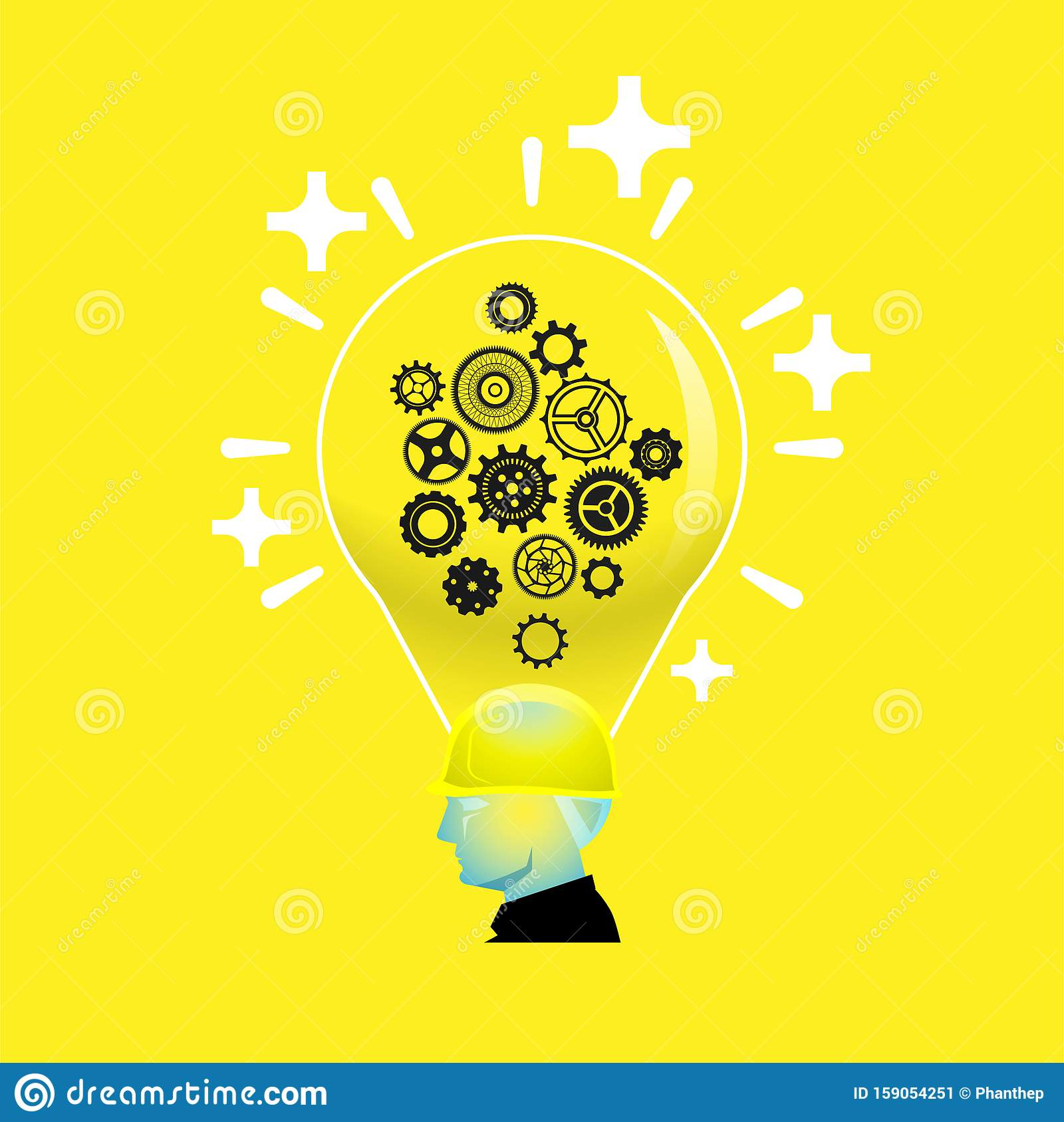 Bright positive thinking foreman with light bulb head