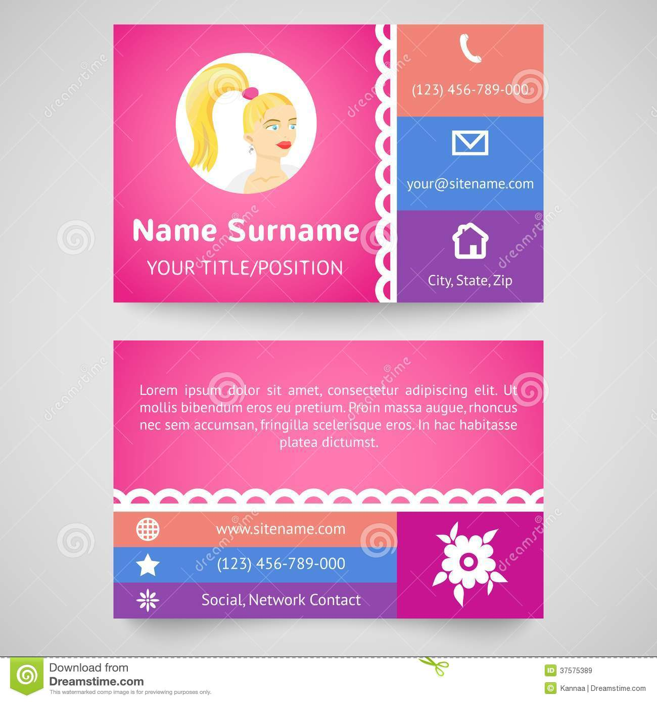 Bright Pretty Business Card (set Template) Stock Vector - Image ...
