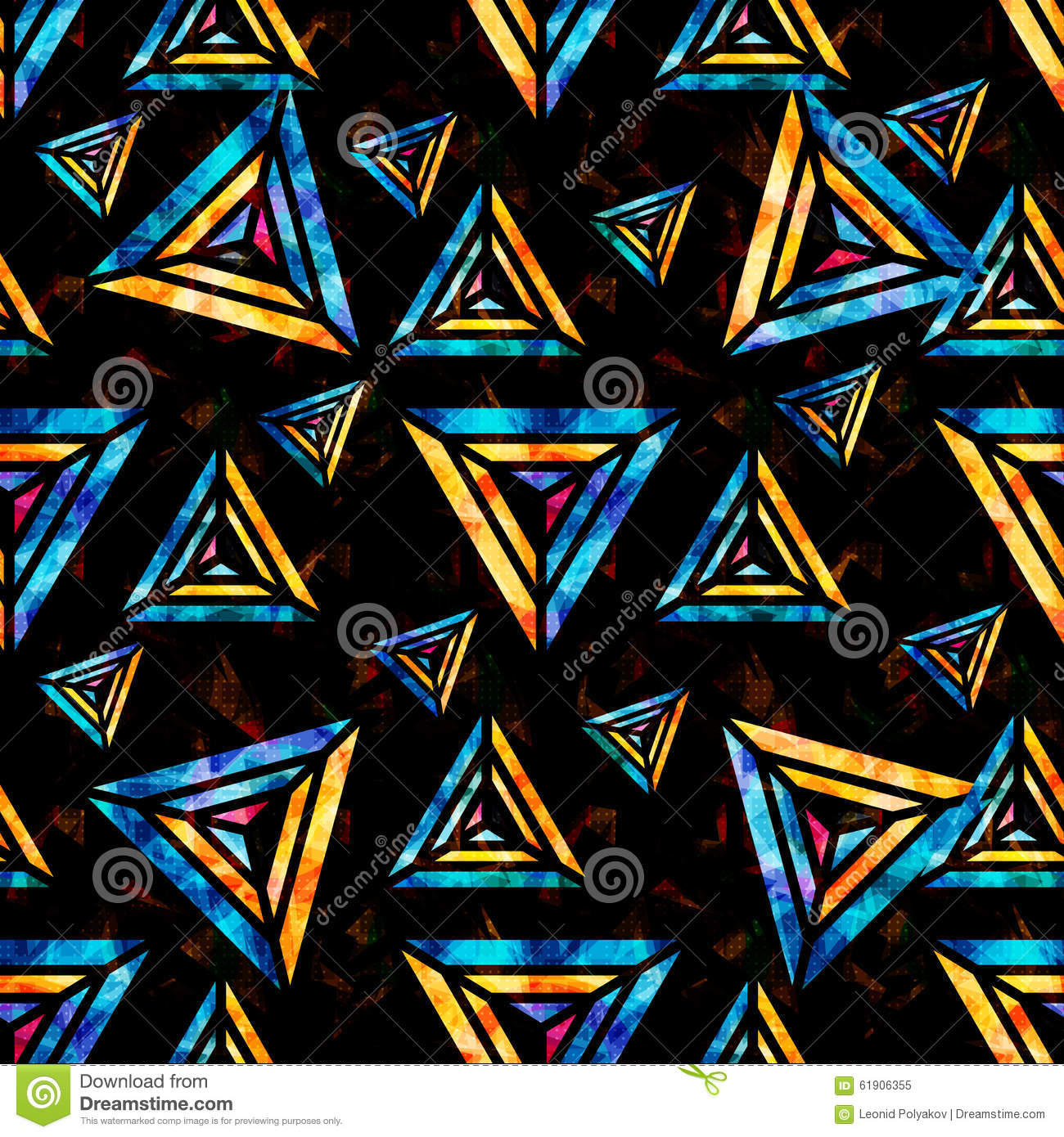 Bright Psychedelic Polygons Black Background Abstract Geometric Seamless Pattern Eps Vector Royalty Free Stock Illustration Extended