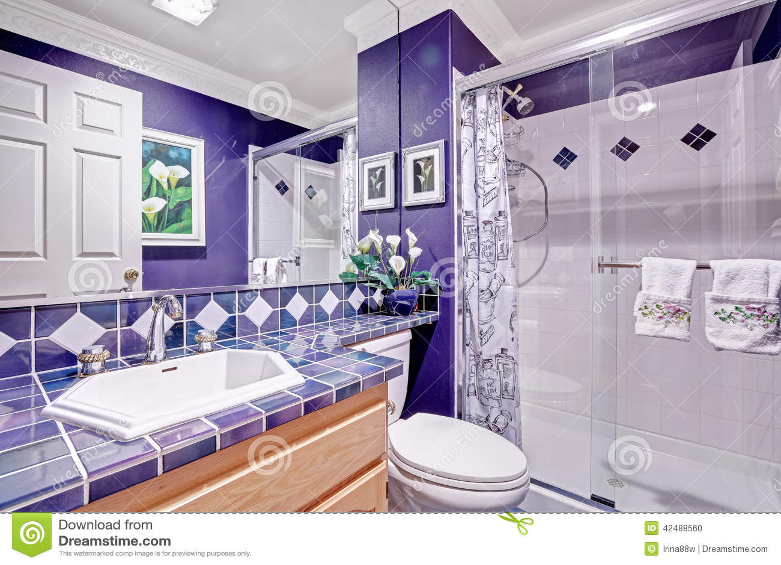 bright purple bathroom interior stock photo - image: 42488560