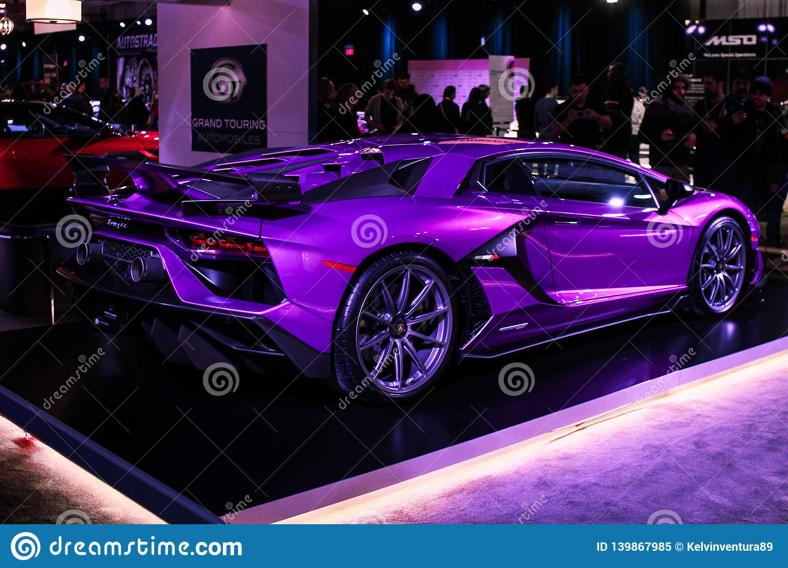 Rare Purple Lamborghini On Display Editorial Image Image Of