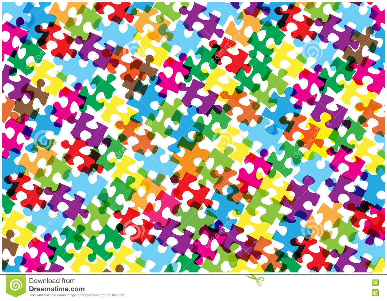 Bright Puzzle Pieces Background Stock Vector