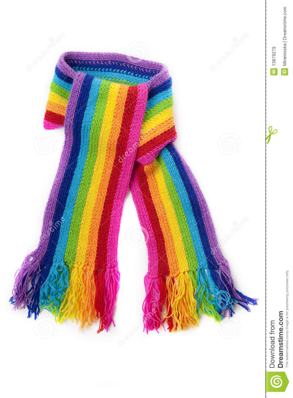 Knitting Pattern For Rainbow Scarf : Bright Rainbow Knitted Scarf Royalty Free Stock Images - Image: 13879279