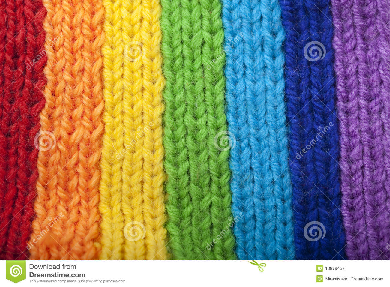Knitting Pattern For Rainbow Scarf : Bright Rainbow Knitted Scarf Royalty Free Stock Photography - Image: 13879457