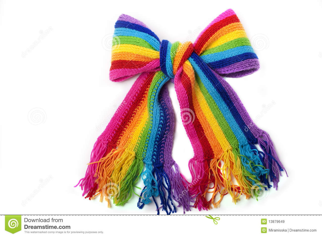 Knitting Pattern For Rainbow Scarf : Bright Rainbow Knitted Scarf Royalty Free Stock Images - Image: 13879649