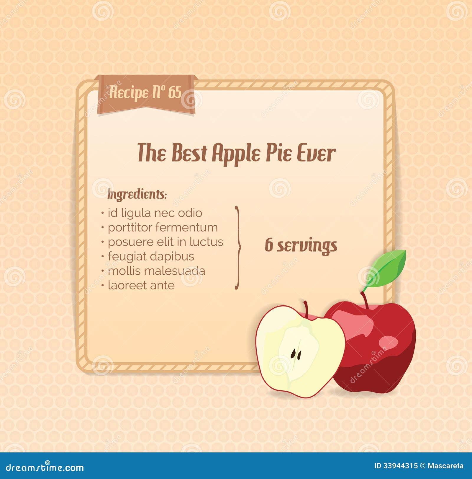 Bright Recipe Card With Cute Cartoon Apple. Royalty Free