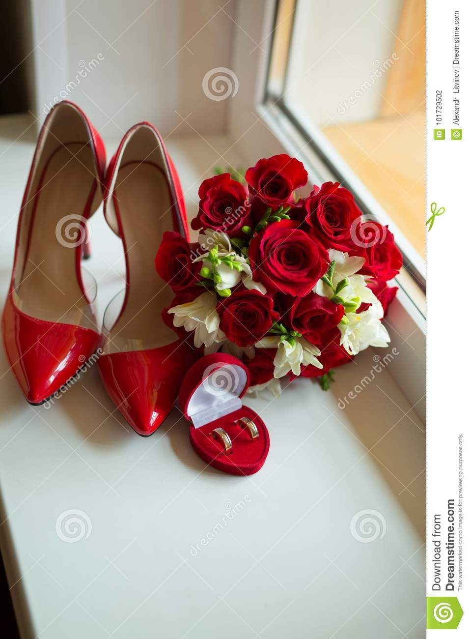 Red Shoes For Wedding | Bright Red Bridal Bouquet Of Fresh Flowers Of Red Roses Stock Photo