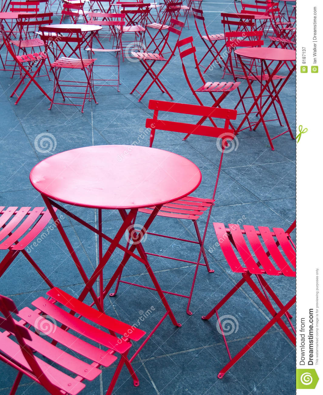 Bright Red Cafe Tables And Chairs