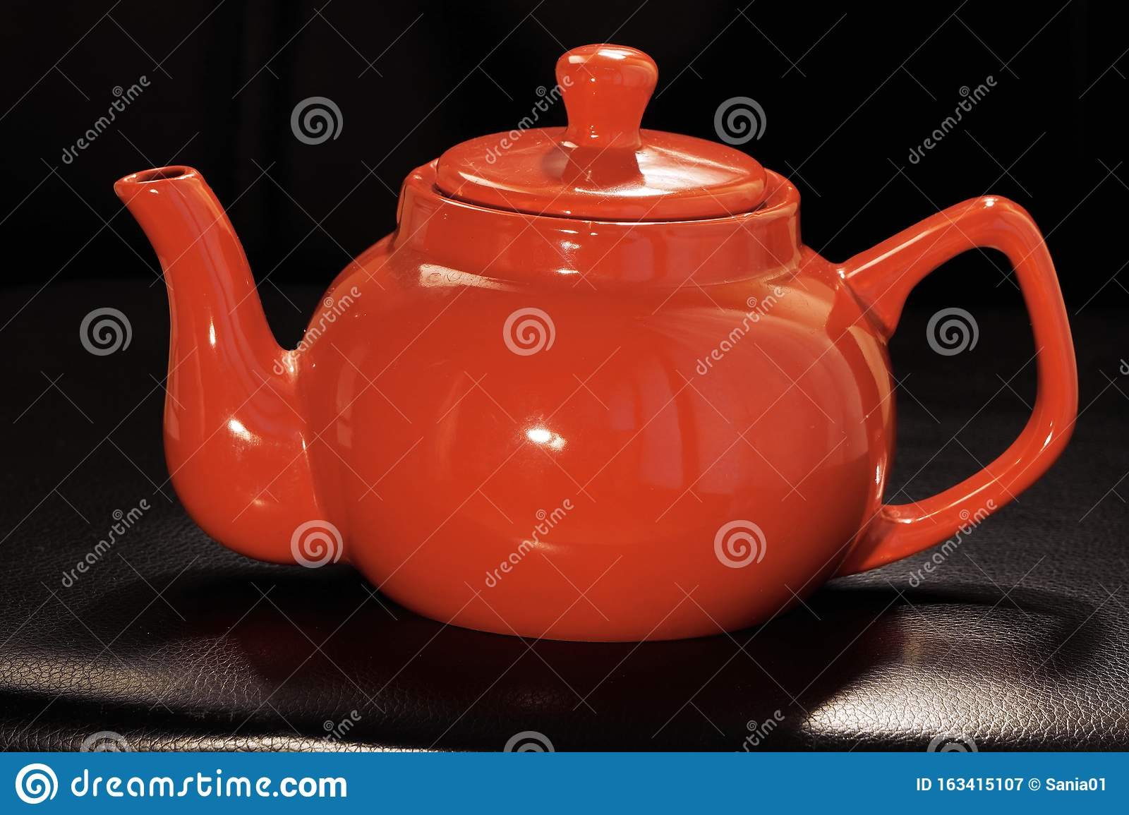 Bright Red Ceramic Teapot Or Brewing Teapot On A Black Background Small Kettle Afternoon Tea Drink Hot Tea Stock Image Image Of Dark Background 163415107