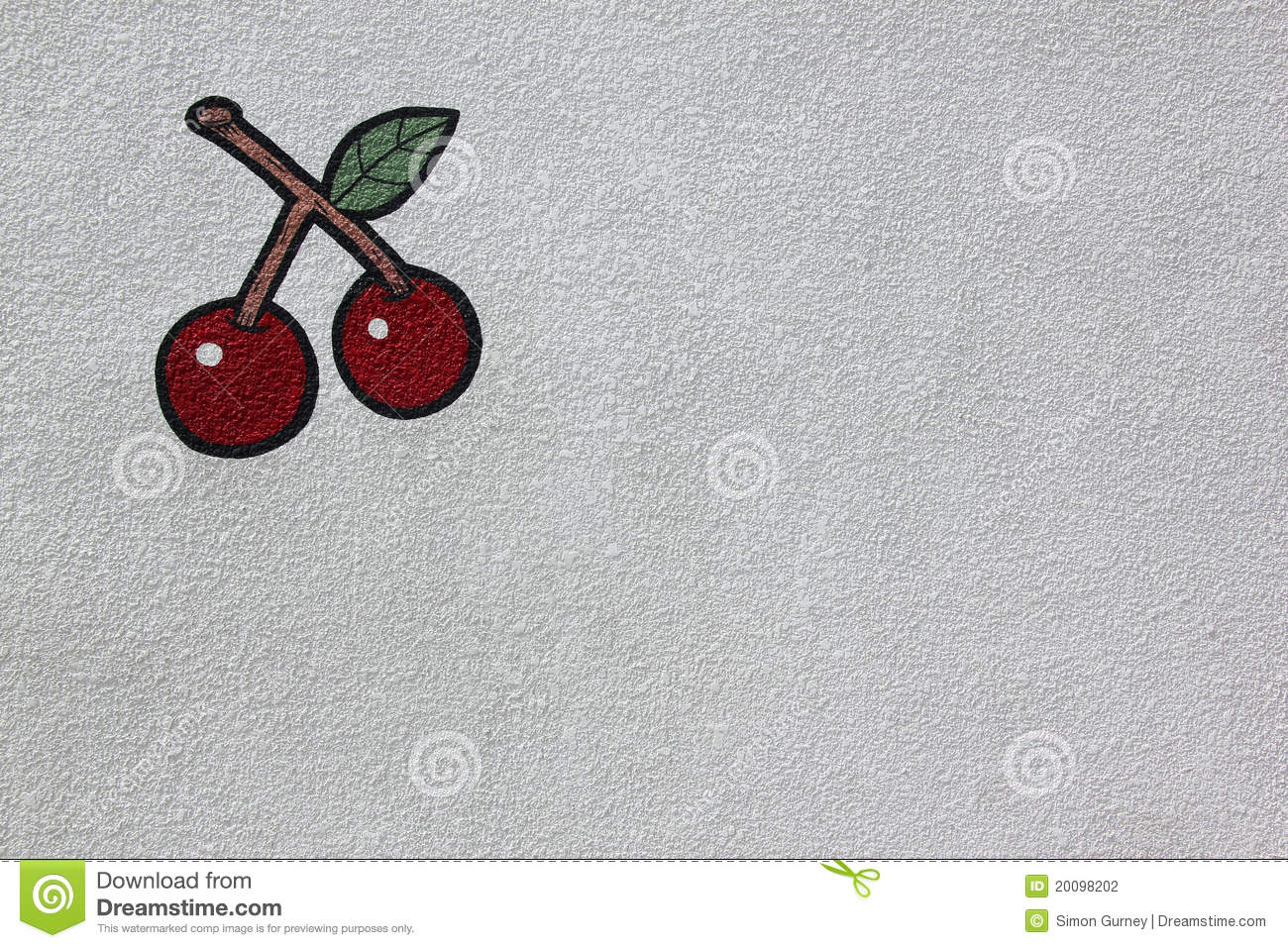 Bright red cherries painted on white wall