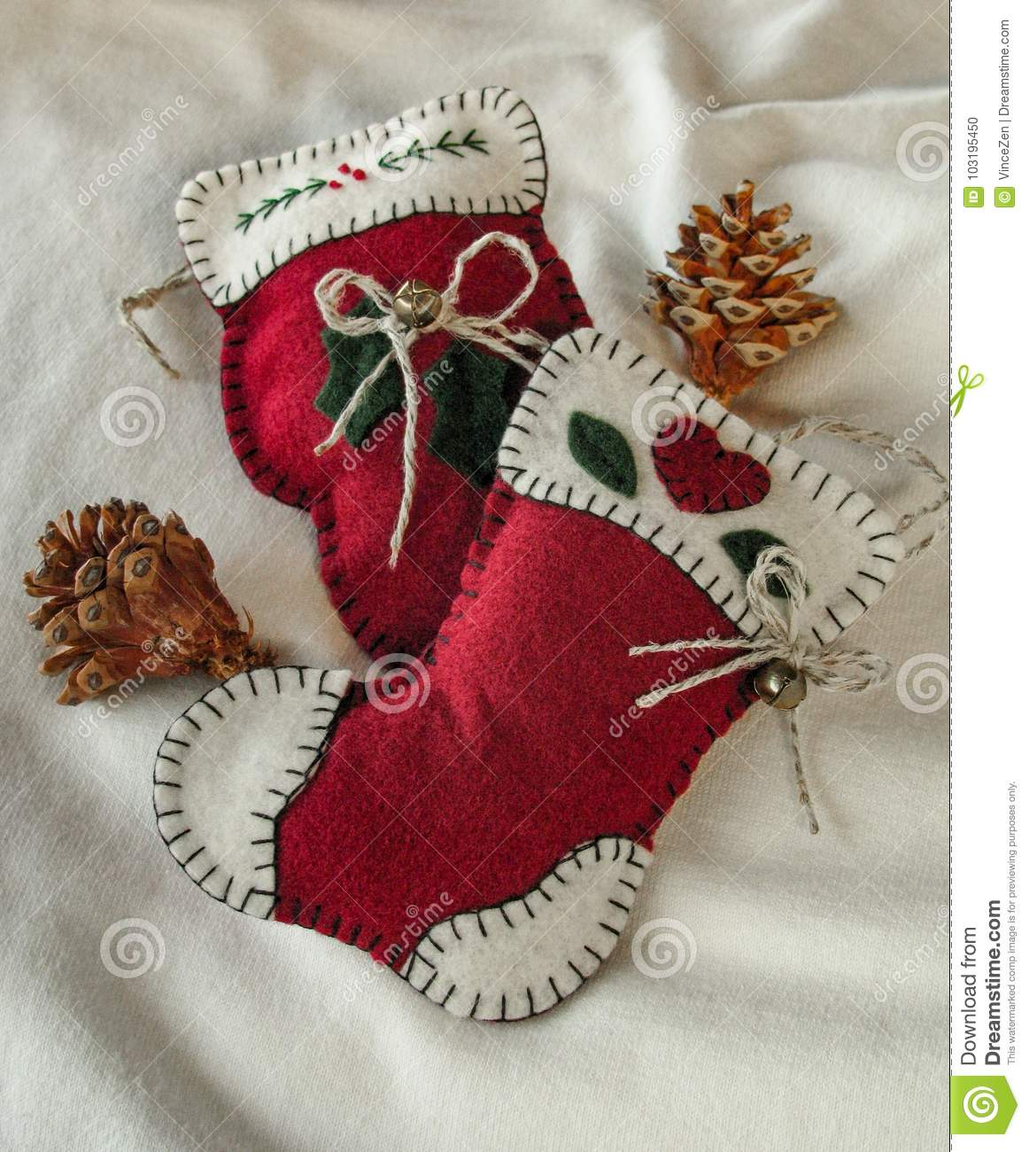 Bright Red Fabric Christmas Tree Ornaments Stock Photo Image Of Stitched Mitten 103195450