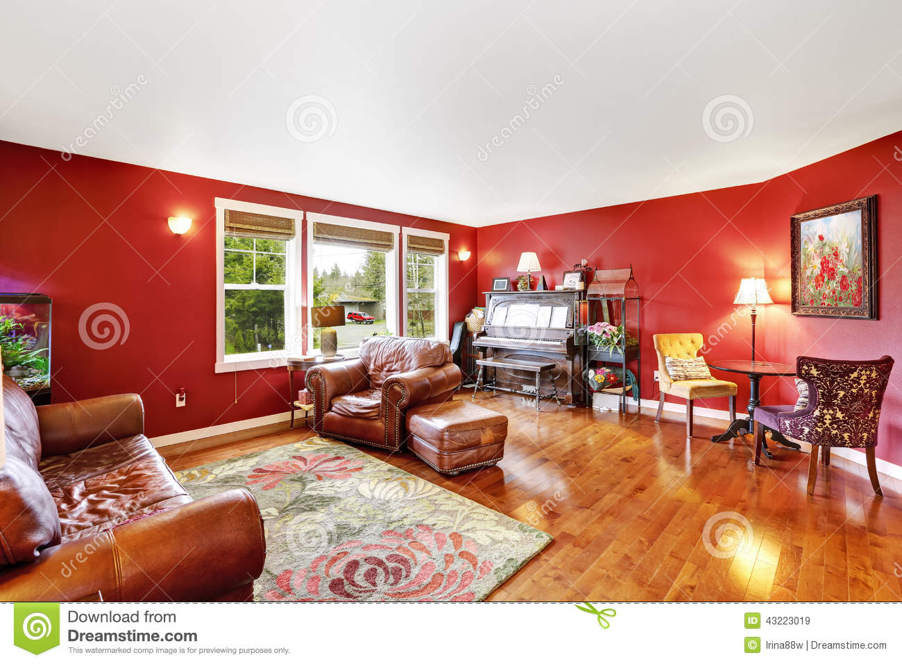 Brown and red living room - Bright Red Living Room Interior Royalty Free Stock Images