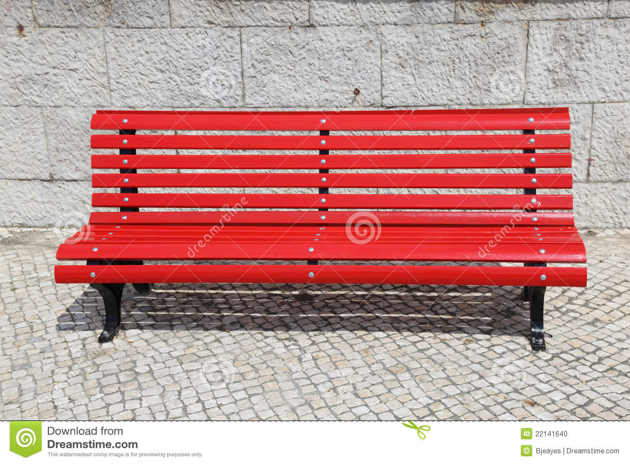 Bright Red Park Bench Stock Photo Image 22141640