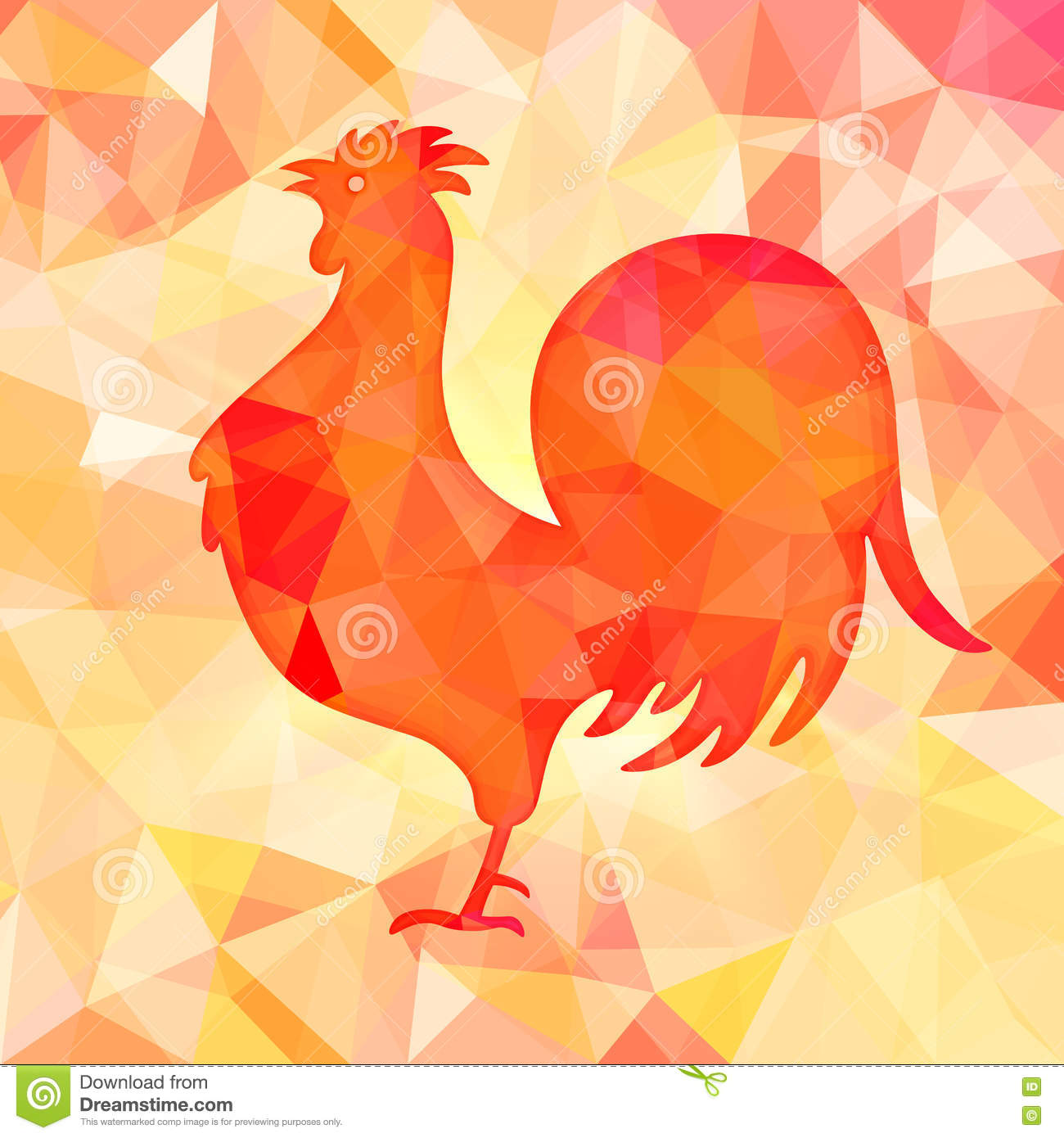 Bright Red Polygon Illustration Of A Rooster. Happy ...