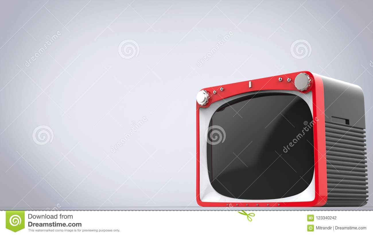Bright red retro style TV set with black back