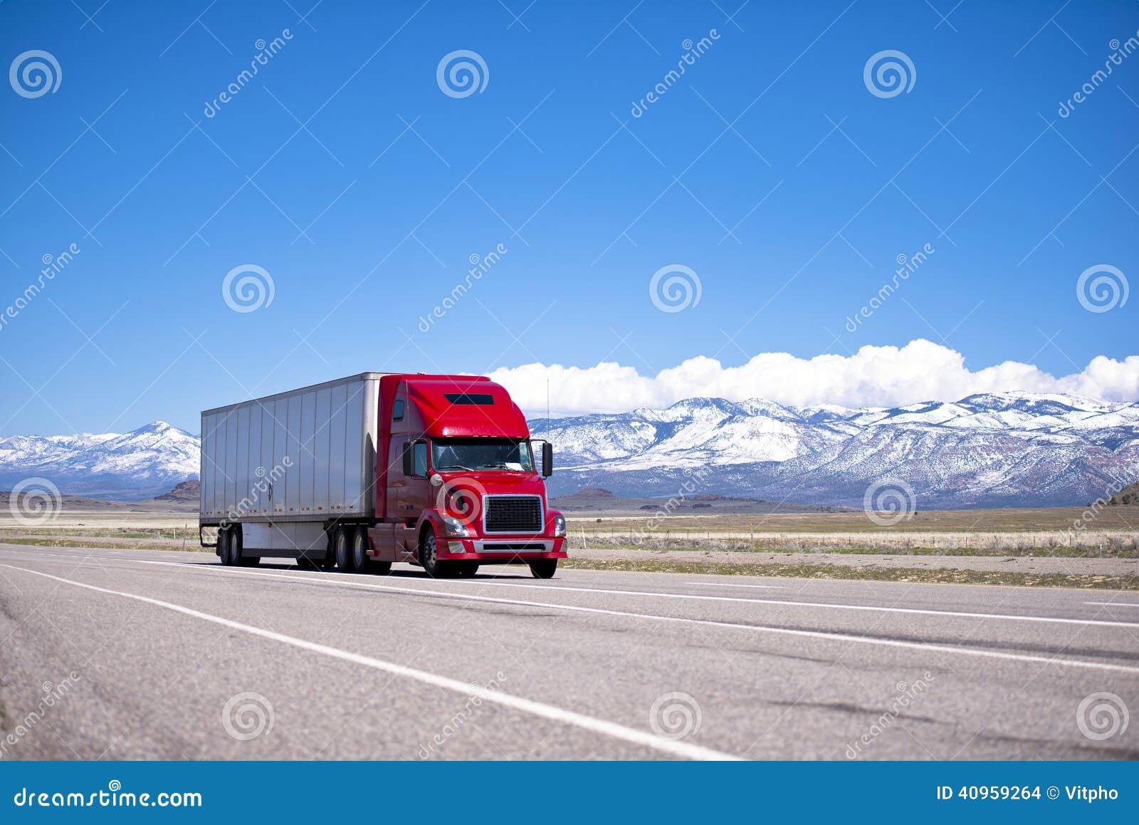 Bright Red Semi Truck Modern Transportation On Spectacular Highw ...
