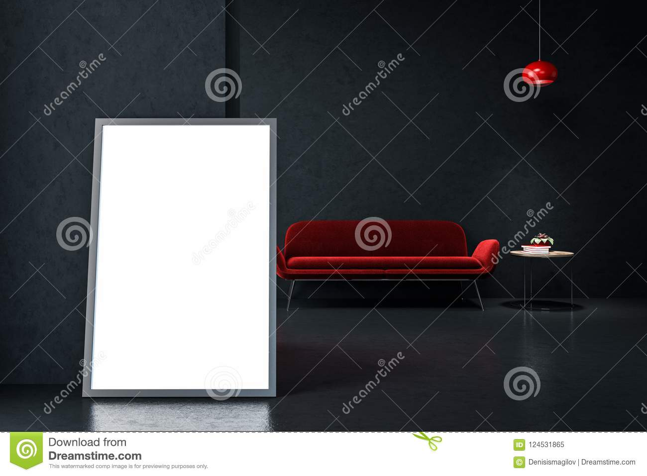 Astonishing Red Sofa In Empty Black Living Room Poster Stock Download Free Architecture Designs Scobabritishbridgeorg