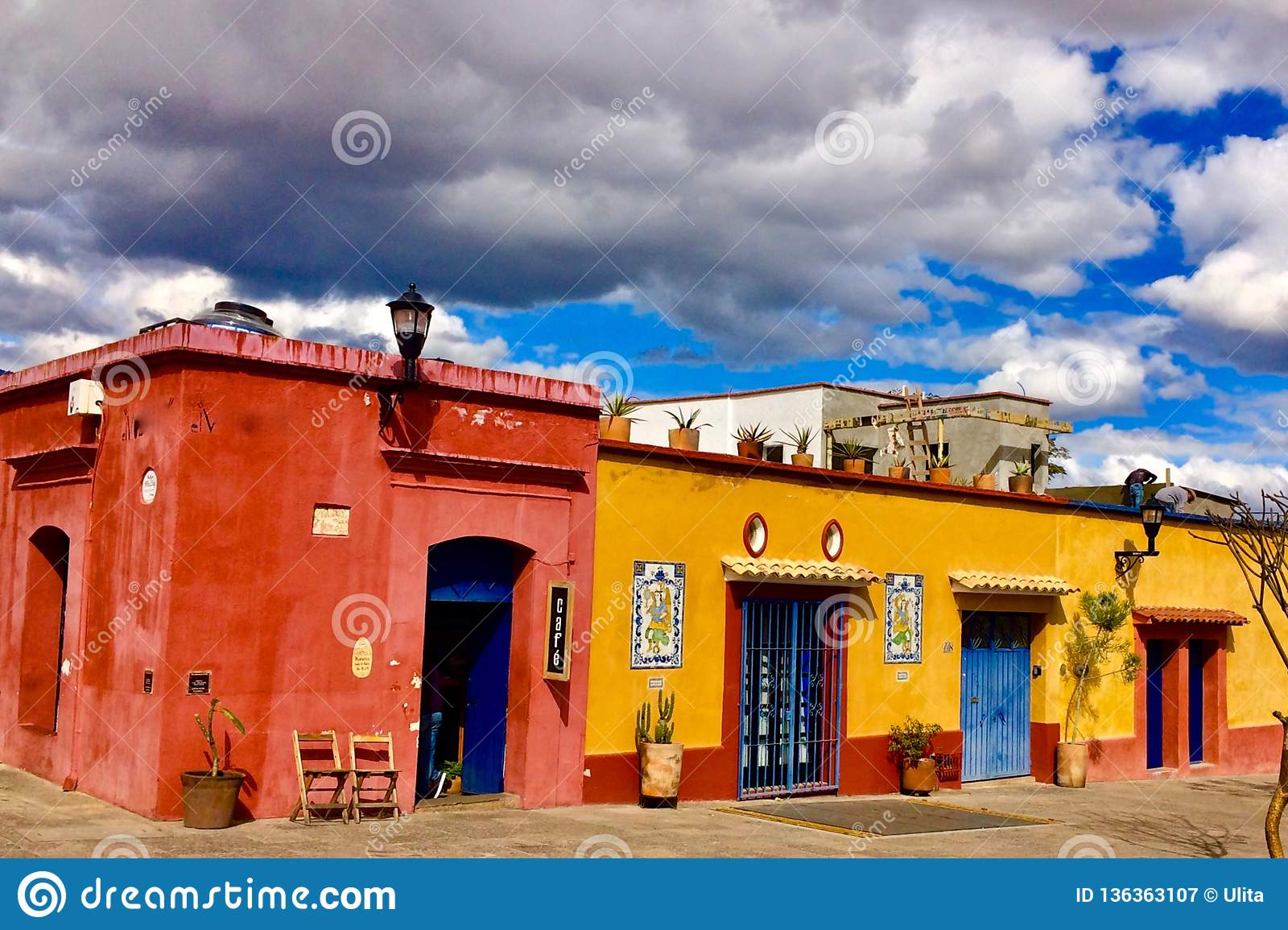 Colorful Colonial Houses  Oaxaca, Mexico Stock Image - Image