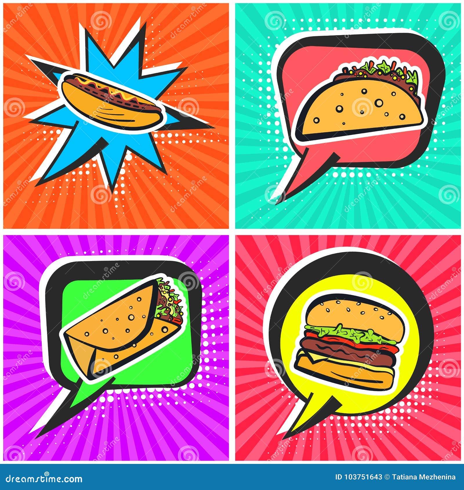 Bright Retro Comic Speech Bubbles With Fast Food Symbols Stock