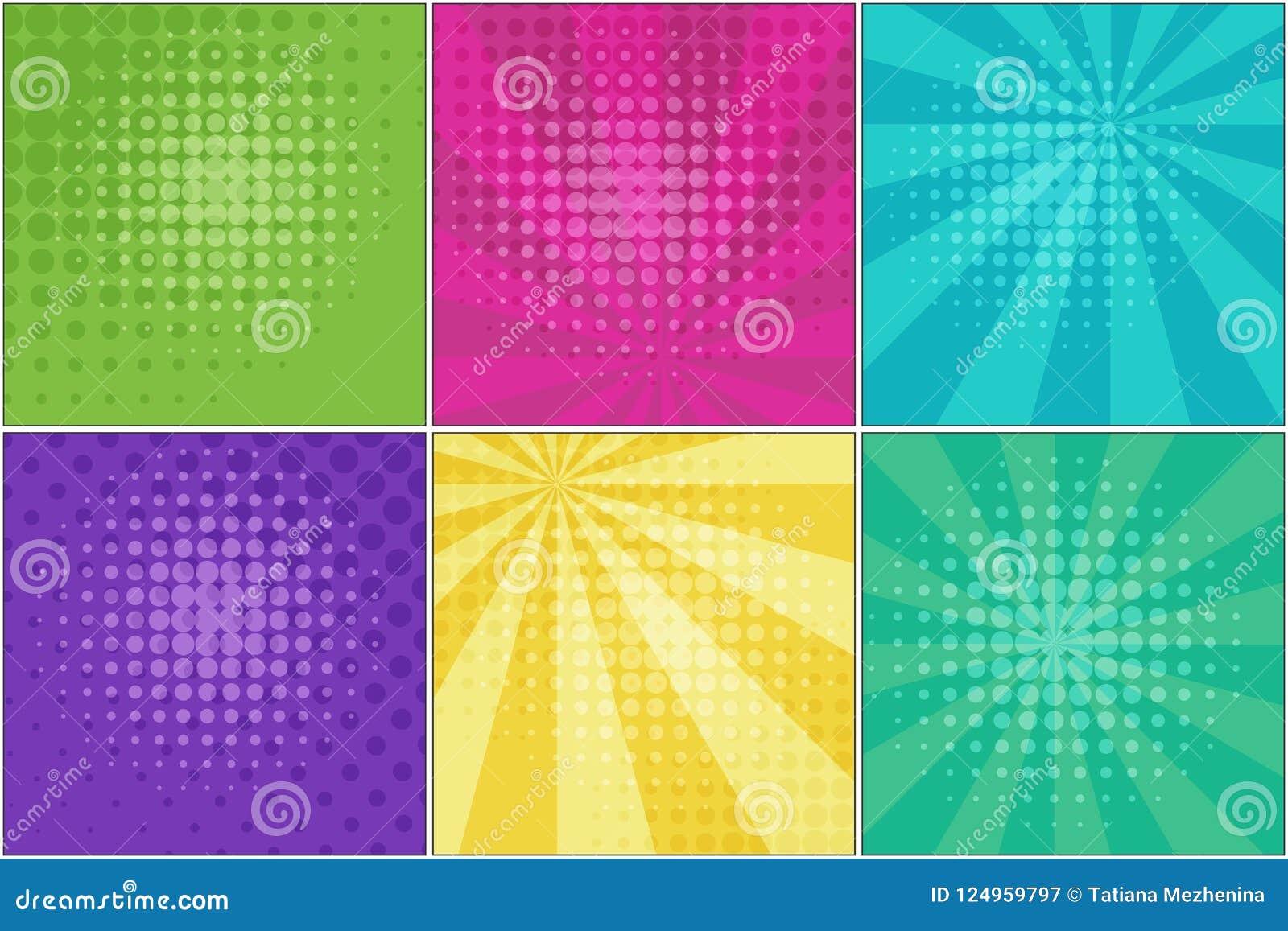 Bright Retro Comic Striped Backgrounds Stock Vector