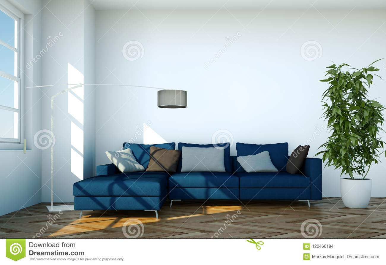 Bright Room With Blue Sofa In Front Of A Window Stock Illustration