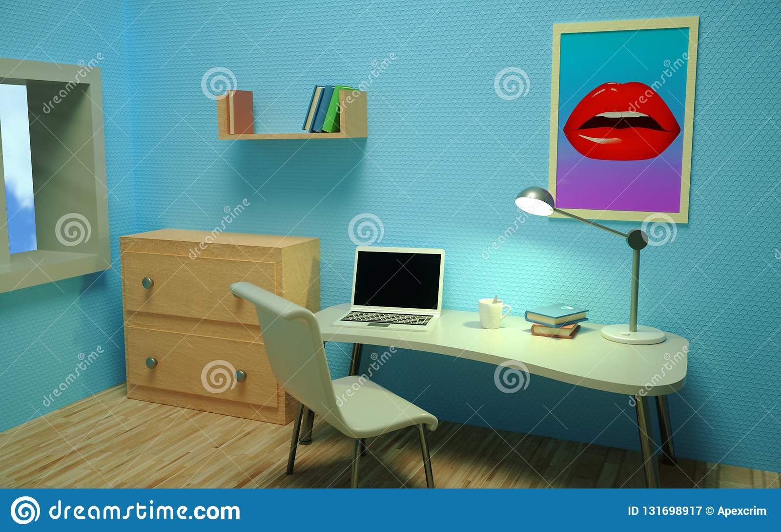 Bright room with blue wallpaper with a table, chest of drawers, window, laptop, books, shelf, cup, chair, lamp. Room interior. Workplace. Perspective view.