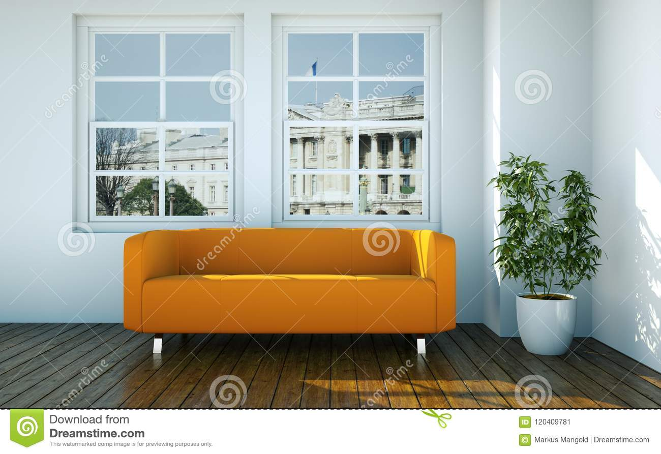 Bright Room With Orange Sofa In Front Of A Window Stock Illustration