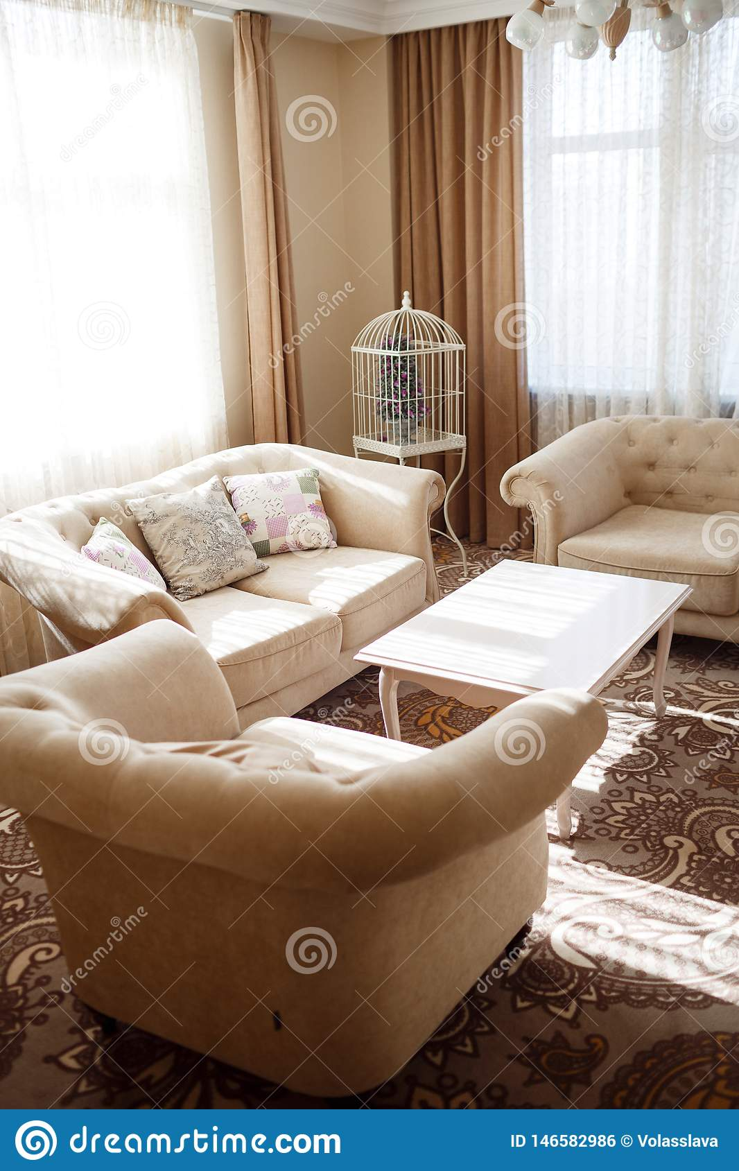 Interior with light soft furniture