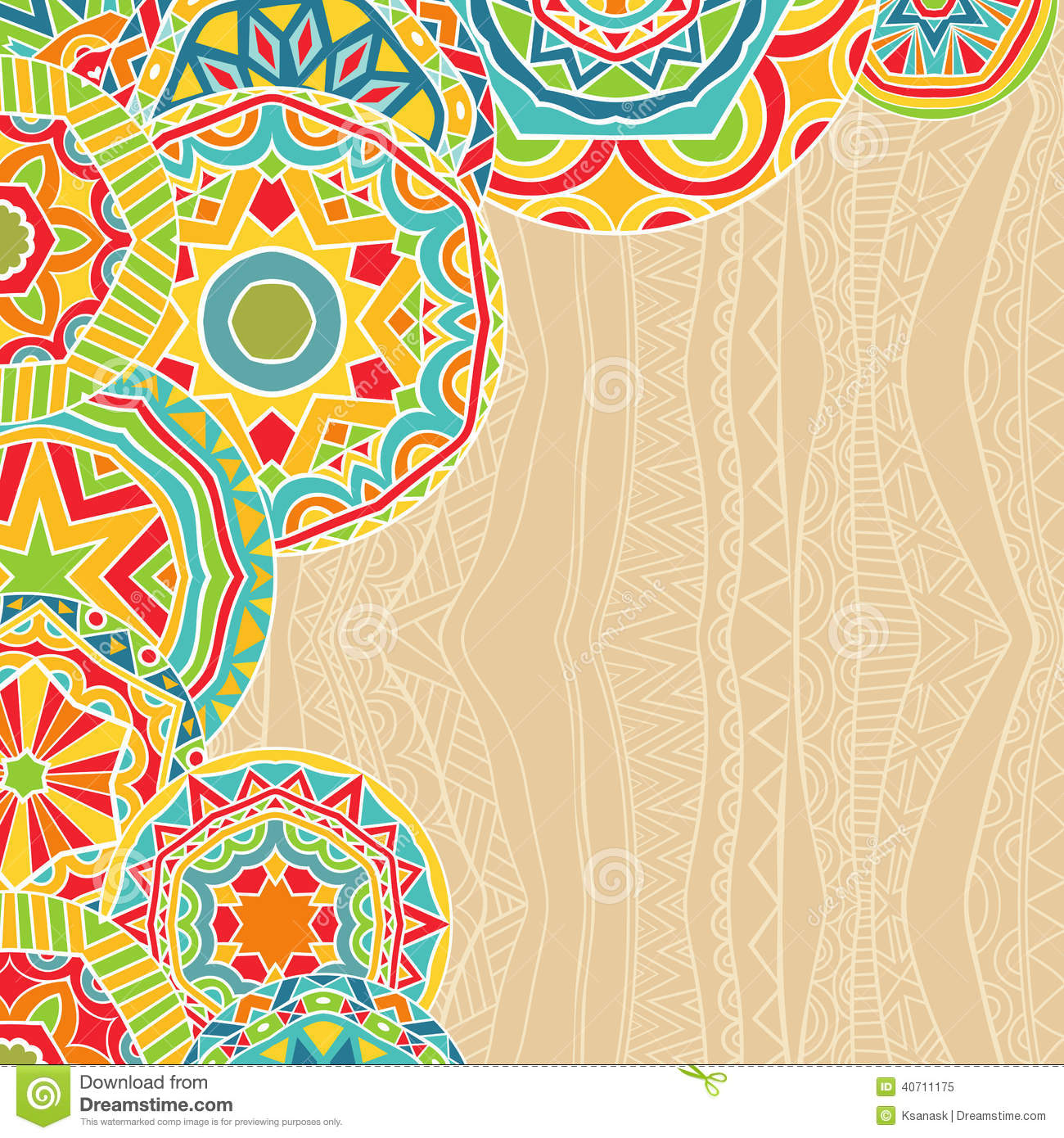 Bright Rounds At Ethnic Background Stock Vector - Image: 40711175