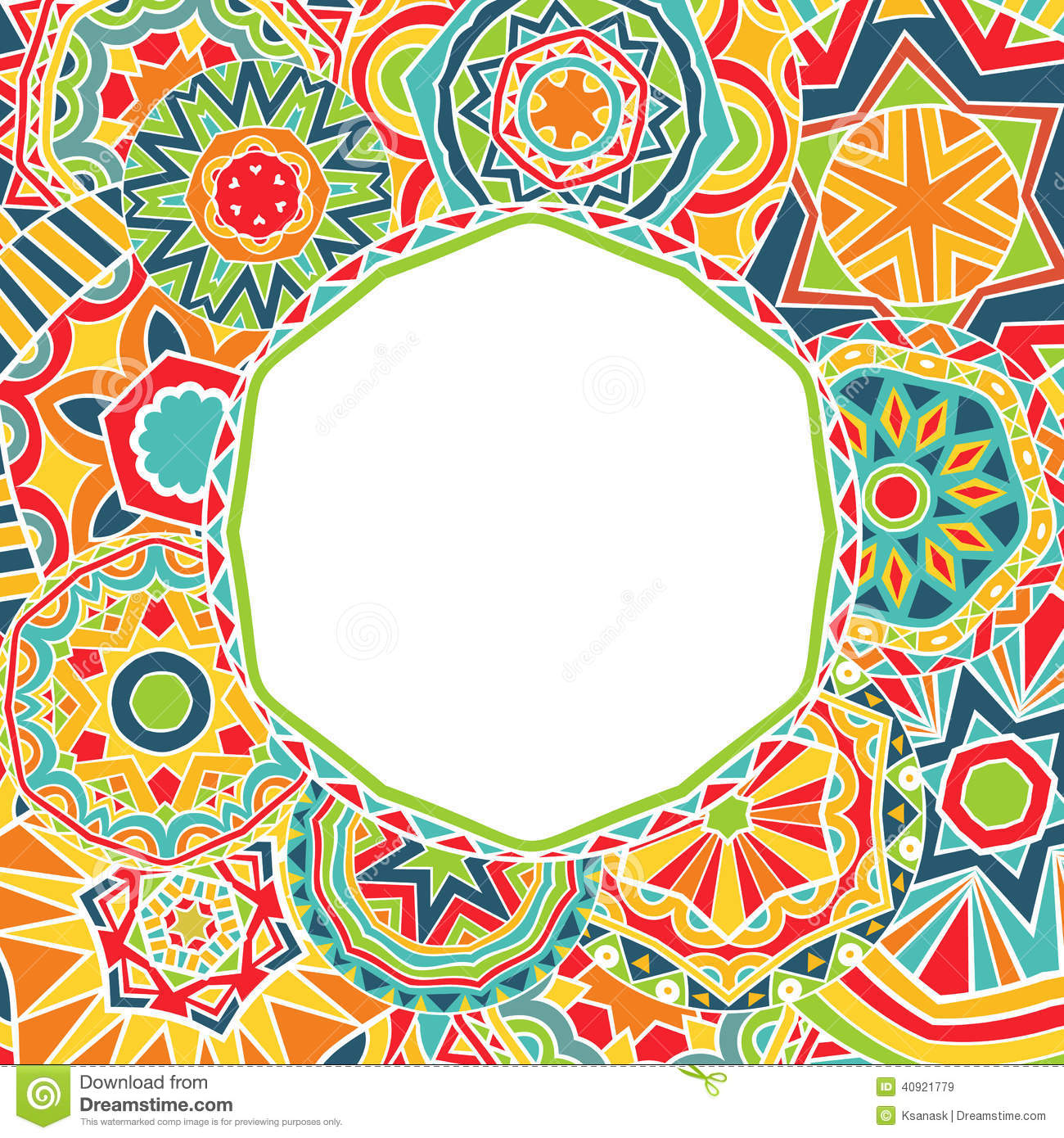 Bright Rounds At Ethnic Frame Stock Vector Image 40921779