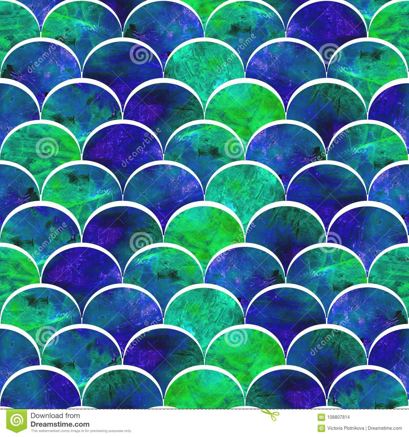 Bright Scales Sdesign In Dark Green Blue Color Palette Stock