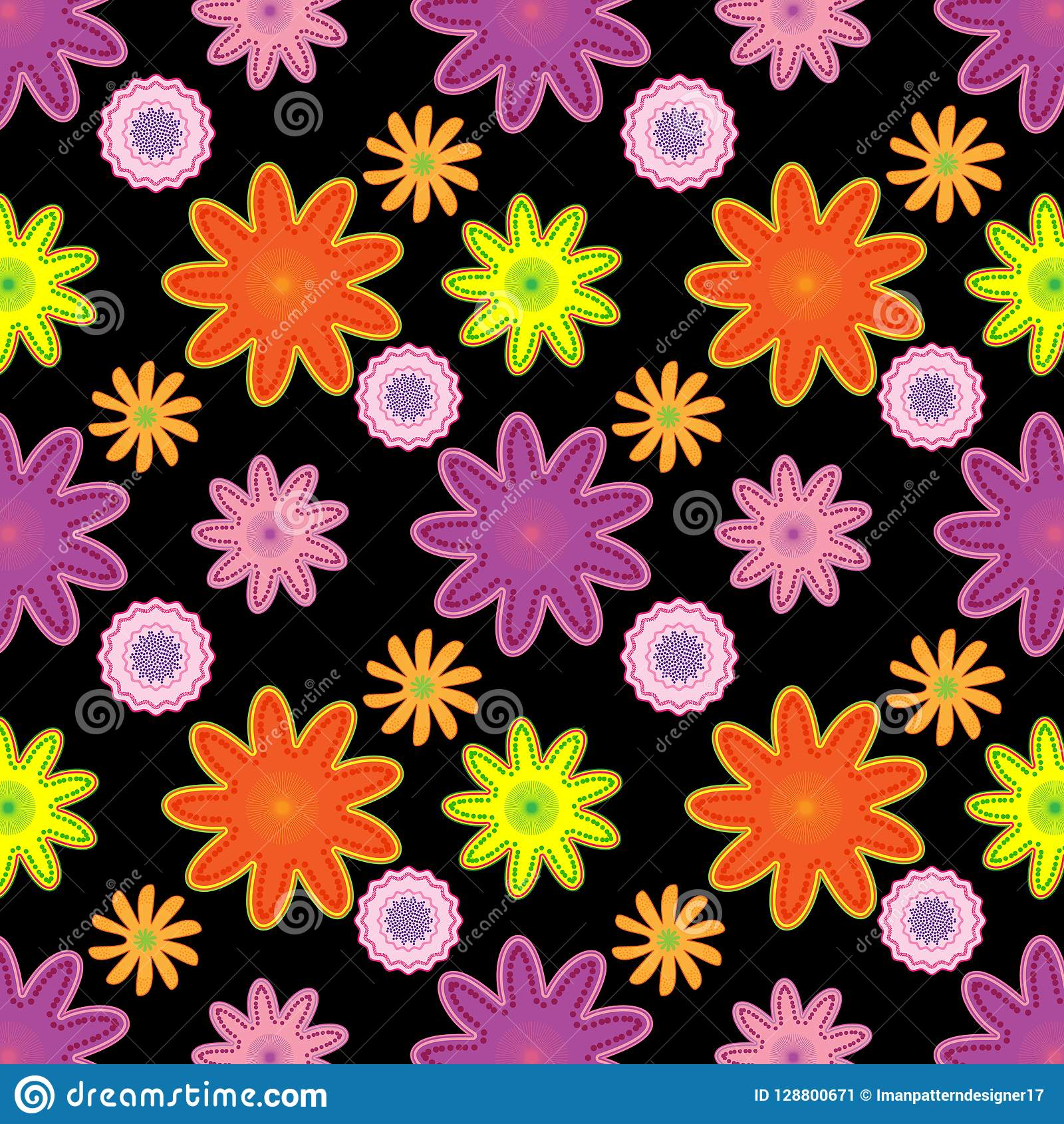 Bright Seamless Floral Pattern In Pink Orange And Purple Over Black Background