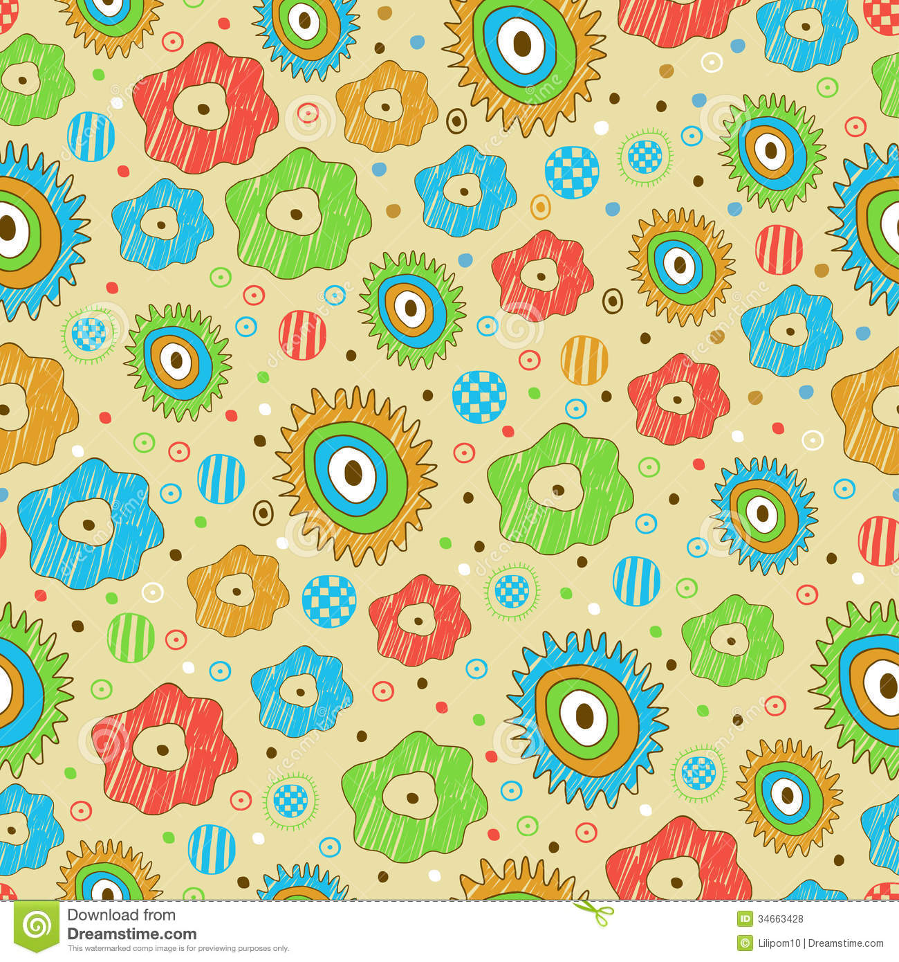 Bright Seamless Floral Pattern Stock Vector - Image: 34663428