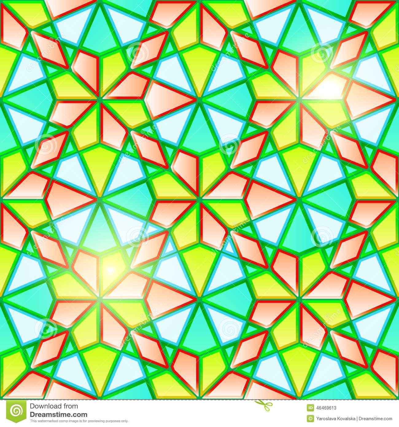 Bright Seamless Geometrical Stained Glass Stock Vector