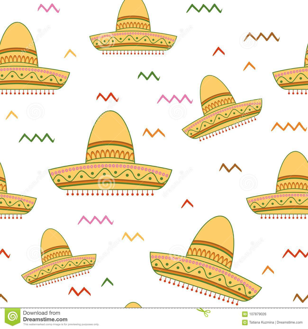4cb29c4c Bright Seamless Vector Background With Mexican Symbols Sombrero Hat ...
