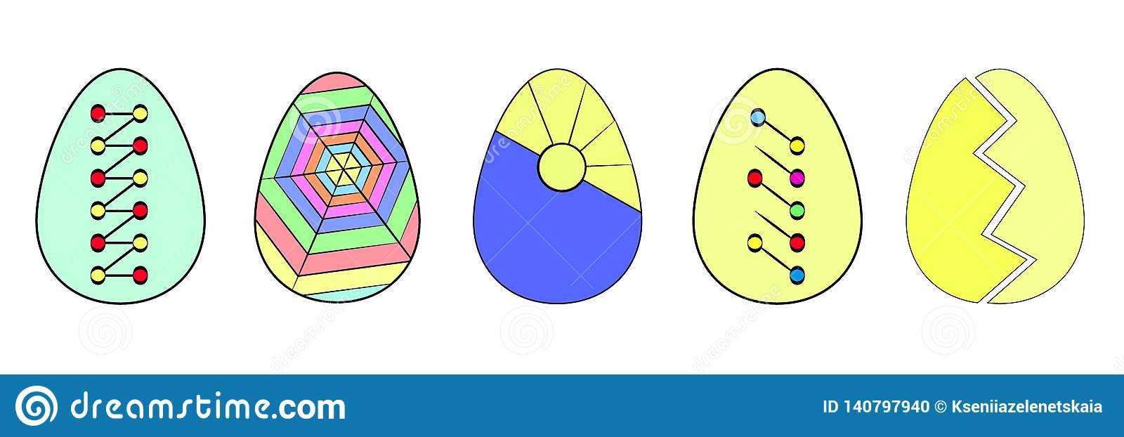 Set of colorful Easter eggs. Food. The collection of eggs. Easter. Flat. Vector