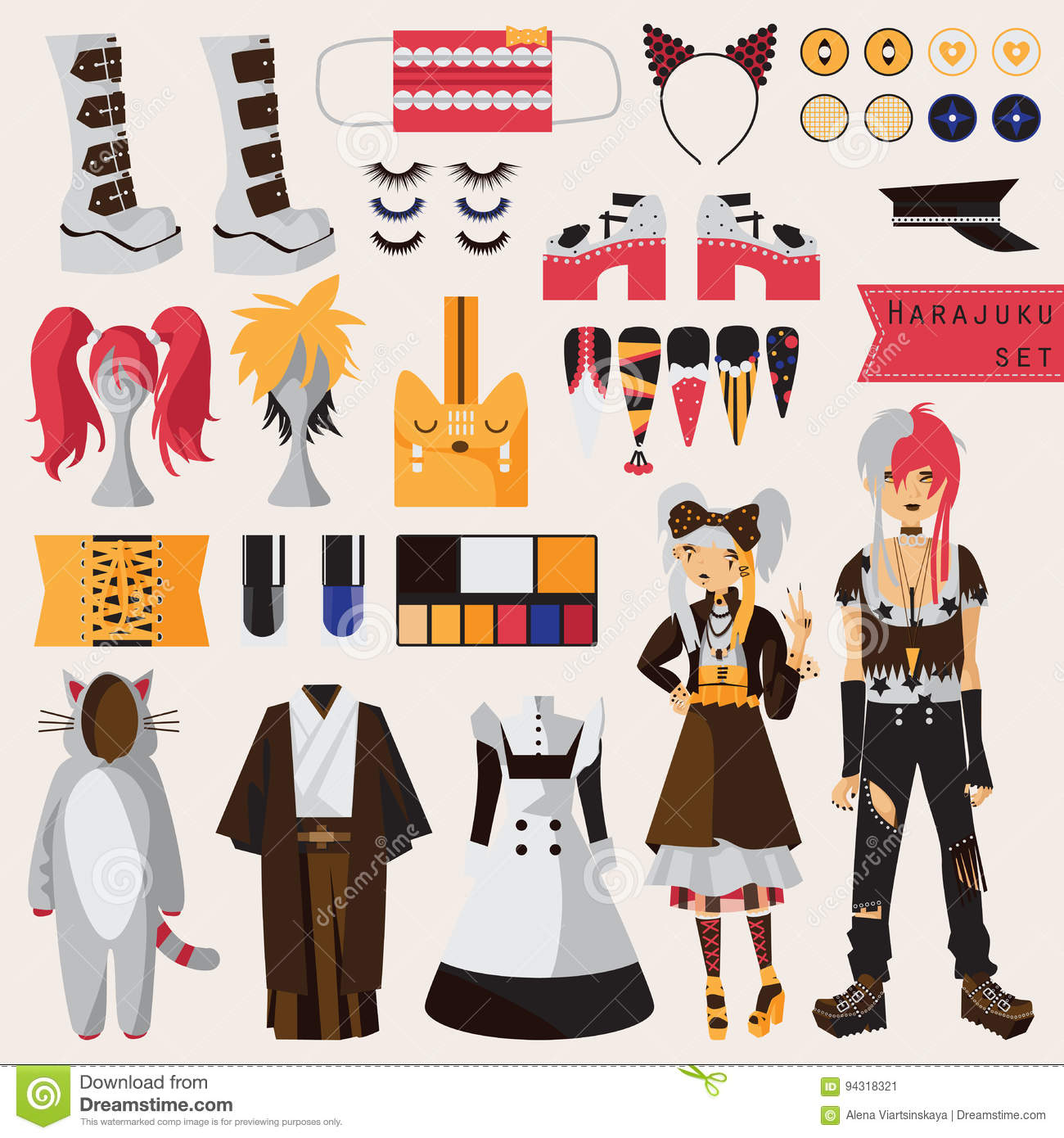 Bright set with subculture of japanese harajuku street fashion, couple in visual kei style with accessories for cosplay and creati