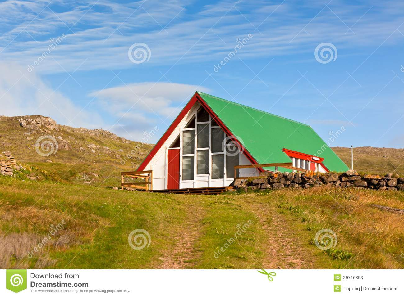 Bright Green House Bright Siding Houses In Small Iceland Town Stock Photos Image