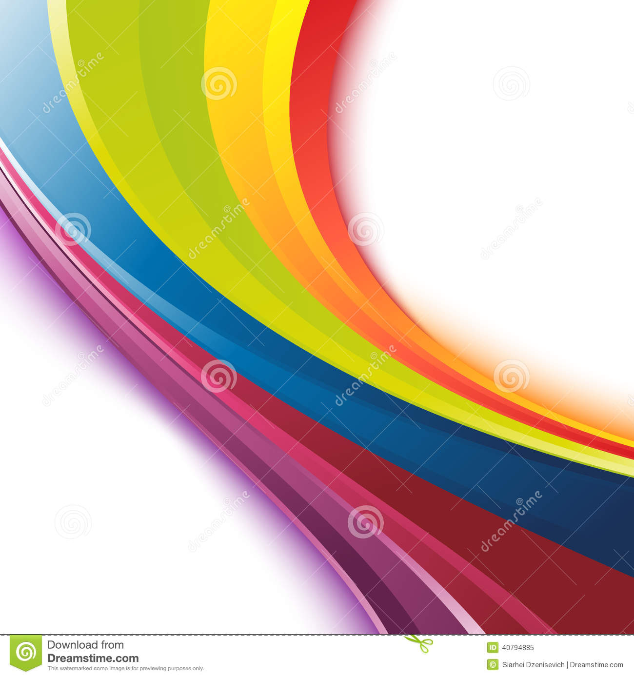 Bright Smooth Rainbow Colorful Waves Template Stock Vector